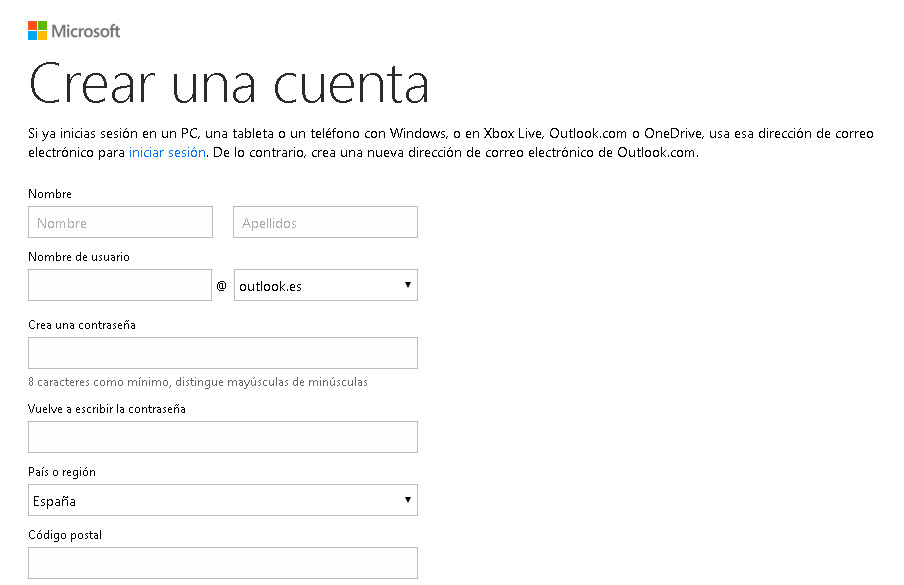Registro en Hotmail