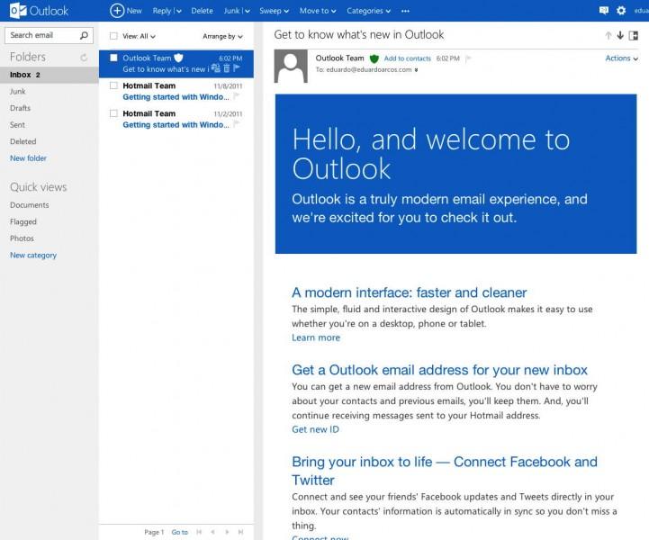 Outlook.com inicio sesión