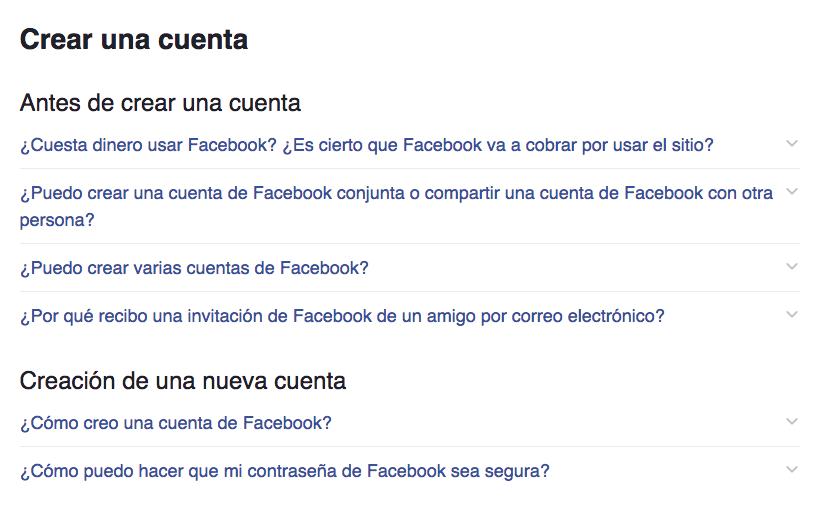 Crear cuenta facebook - preguntas frecuentes